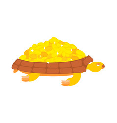 golden turtle carries gold coins jewels on a shell vector image
