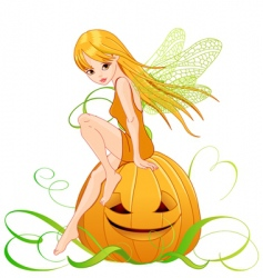 Halloween pumpkin fairy vector