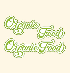 hand drawn lettering organic food with outline and vector image