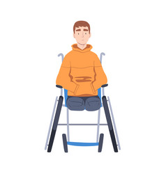 Handicapped young man in wheelchair feeling sad vector