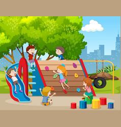 Happy children on playground vector