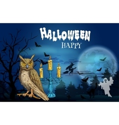 Happy Halloween dark greeting card vector