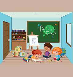 Happy student in classroom vector