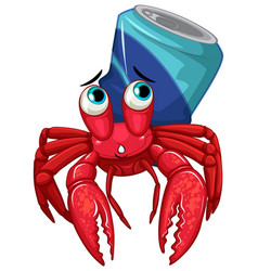 Hermit crab with soda can on white background vector