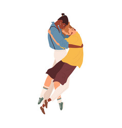 Interracial lgbt couple young men hugging vector