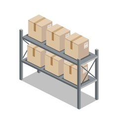 Isometric 3d Shelf with Cartoon Box vector