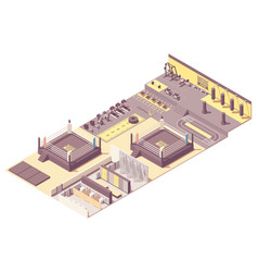 Isometric boxing gym interior vector