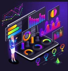 isometry of a business lady indicates vector image