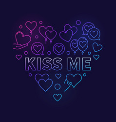 Kiss me bright outline heart vector