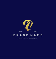 Letter n diamond gold logo design vector