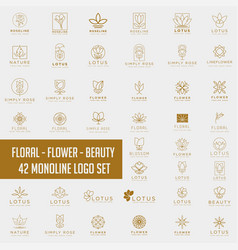 Lotus flower logo collection abstract beauty spa vector