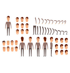 Man character creation set icons with different vector