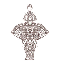 man in yoga pose on elephant ornamental card vector image