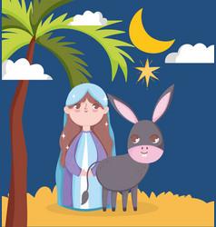 Mary and donkey night palm moon manger nativity vector