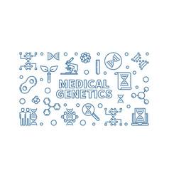 medical genetics medicine concept linear vector image