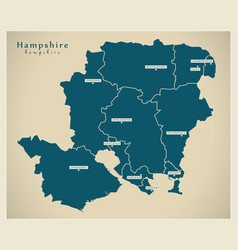 Modern map - hampshire county with districts uk vector
