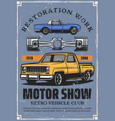 Motor show poster with retro cars and auto part vector