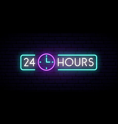 Neon sign 24 hours glowing shining design element vector