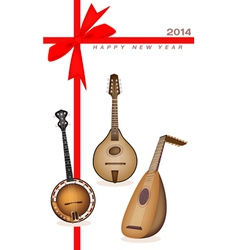 new year gift card musical instrument strings vector image