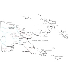 Papua New Guinea Black White Map vector