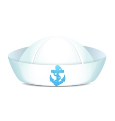 Peaked sailor hat with blue anchor vector