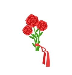 Red Roses Flower Bouquet Tied With Red Ribbon vector