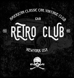 retro car club tee graphic design vector image