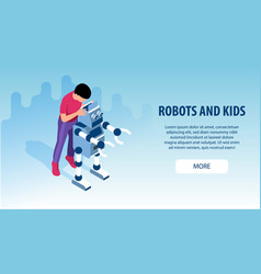 Robot kids education banners vector