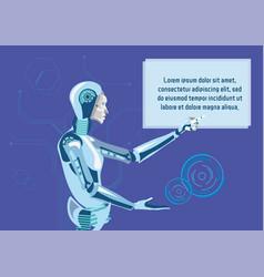 Robotic assistants promo flat banner template vector