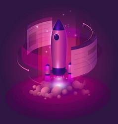 Rocket business website launch start-up in vector
