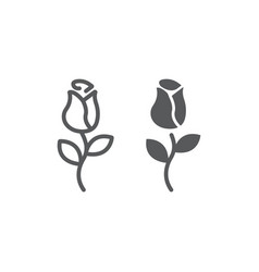 rose line and glyph icon love and floral flower vector image