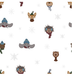 Seamless pattern with cartoon cute animals vector