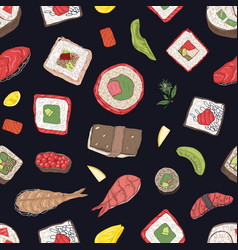 seamless pattern with maki and nigiri sushi vector image