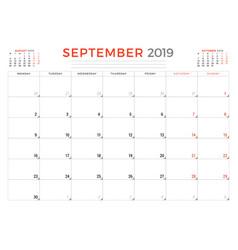 September 2019 calendar planner stationery design vector