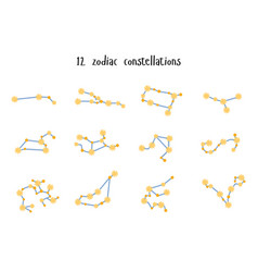 Set 12 zodiac constellations flat style vector