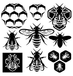 Set of monochrome honey emblems and design vector