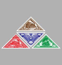 Set stamps templates with retro trains vector