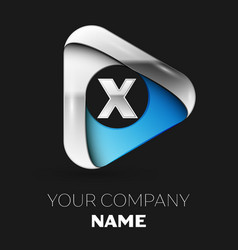 silver letter x logo in silver-blue triangle shape vector image