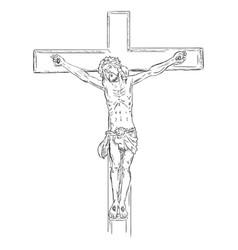 Sketch crucifix jesus on cross vector