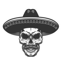 skull in mexican sombrero vector image