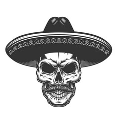 Skull in the mexican sombrero vector