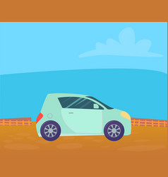 Small blue microcar stand on ground in countryside vector