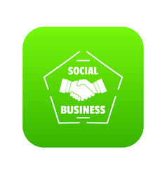social business icon green vector image