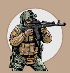 Soldier with gun warrior special forces vector