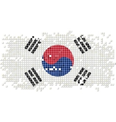 South Korea grunge tile flag vector image