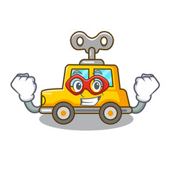 Super hero cartoon clockwork toy car in table vector