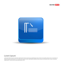 Swimming diving icon - 3d blue button vector