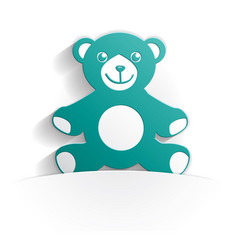 teddy bear icon paper vector image