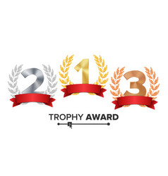 trophy award set figures 1 2 3 one two vector image
