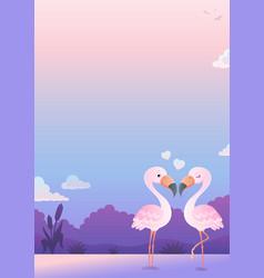 valentine flamingos topic image 6 vector image
